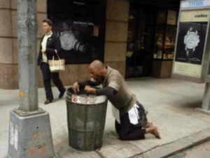 Black guy throwing up in trash can Opinion meme template