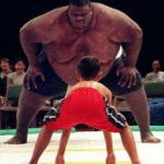 Black Sumo Wrestler vs. Small Kid  meme template blank
