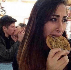 Couple Kissing and Girl Eating Cookie Food meme template