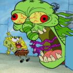 Spongebob vs. Scary Green Monster Face Spongebob meme template blank
