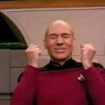 Picard Happy Celebrating  meme template blank Celebration, happy, Star Trek
