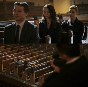 Guns Held to Head in Church with Sniper Gun meme template