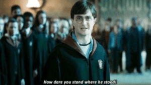 How dare you stand where he stood Harry Potter meme template