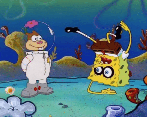 Spongebob and Sandy upside-down Dancing meme template