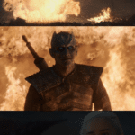 Dragon / Daenerys shooting fire at night king  meme template blank game of thrones dany lighting