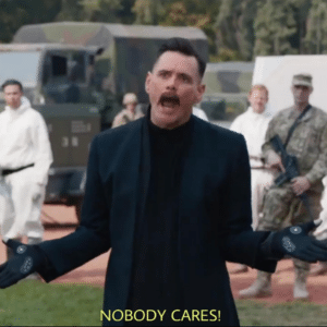 Jim Carrey Robotnik/Eggman 'Nobody Cares' Sonic meme template