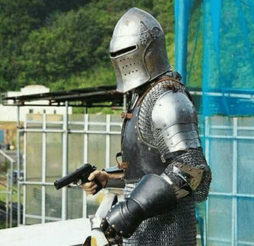 Crusader / Knight with Gun  meme template blank