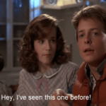 Marty McFly 'Hey I've seen this one'  meme template blank