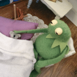 Kermit petting a bear in bed  meme template blank frog