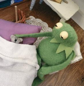 Kermit petting a bear in bed Animal meme template