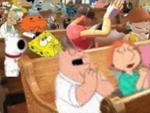 Cartoon characters praying in church Chimera meme template