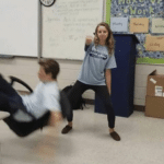 Kid falling out of chair while girl dances  meme template blank