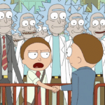 Morty Shaking Hands with Morty  meme template blank rick