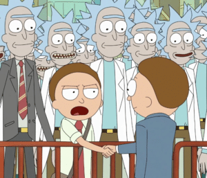 Morty Shaking Hands with Morty Rick and Morty meme template