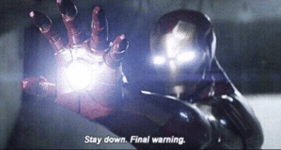 Iron Man 'Stay down'  meme template blank final warning avengers marvel Captain America