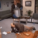 Kevin falling in Chili  meme template blank The Office, mistake, disaster, spill, ruin