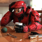 Spartan Drinking Coffee  meme template blank Halo, sad
