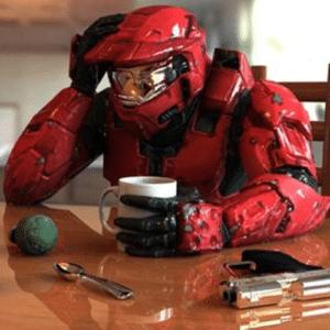 Spartan Drinking Coffee Sad meme template