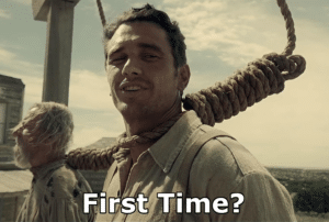 Being hanged 'First time'? Sad meme template
