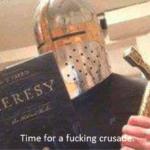 Crusader Reading Heresy Book  meme template blank