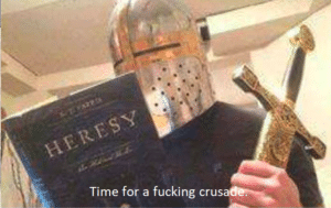 Crusader Reading Heresy Book Crusader meme template