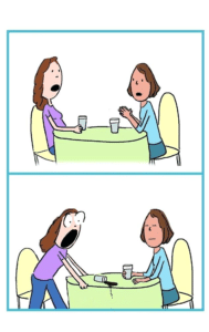 Two Women Talking Spilling Coffee Comic Surprised meme template