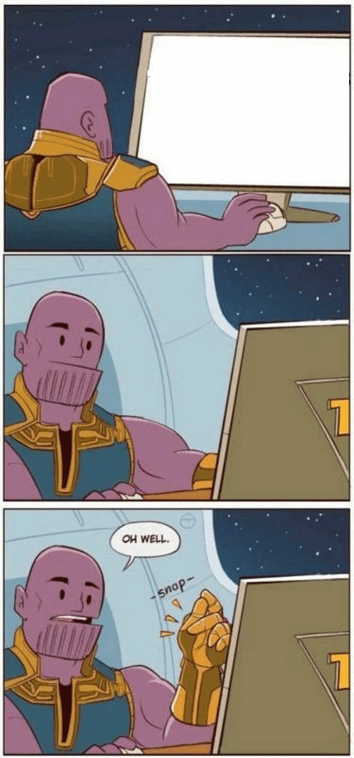 Thanos looking at screen / board  meme template blank marvel avengers