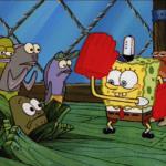 Spongebob Karate Against Fish into Floor Spongebob meme template blank Fred the Fish