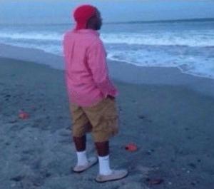 Black Guy Standing at Beach Black Twitter meme template