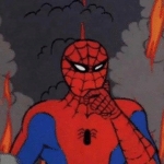 Spiderman thinking fire in background Spiderman meme template blank fire, destruction, this is fine, thinking