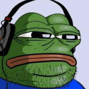 Pepe with headphones Frog meme template