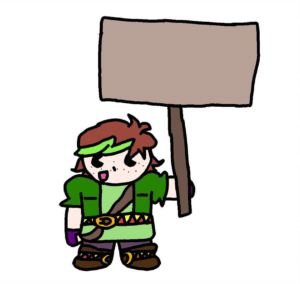 Chibi Verde Holding Sign Opinion meme template