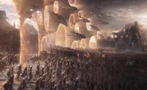 Endgame Armies Showing up Through Portals Avengers meme template
