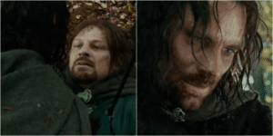 Aragorn looking at Boromir LOTR meme template