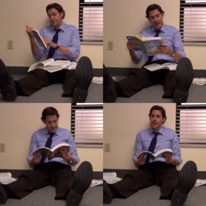 Jim Reading Book Reading meme template