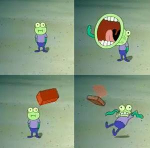 Spongebob Hooplah Brick Throw at Fish Opinion meme template