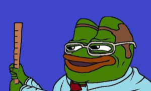 Professor / Scientist / Smart Pepe holding ruler Frog meme template