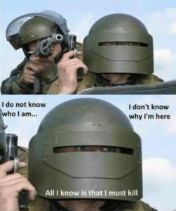 I do not know who I am. All I know is that I must kill Gun meme template