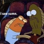Spongebob I saw sumn fish Spongebob. meme template blank Fred the Fish