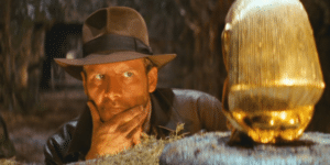 Indiana Jones Looking at Gold Idol Minecraft meme template