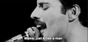 Freddie Mercurcy 'Mama just killed a man' Gun meme template