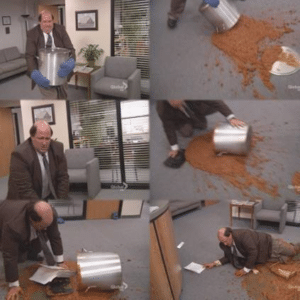 Kevin Trying to Clean Up Chili The Office meme template