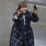 Daniel Radcliffe with Guns Duelies  meme template blank Harry Potter
