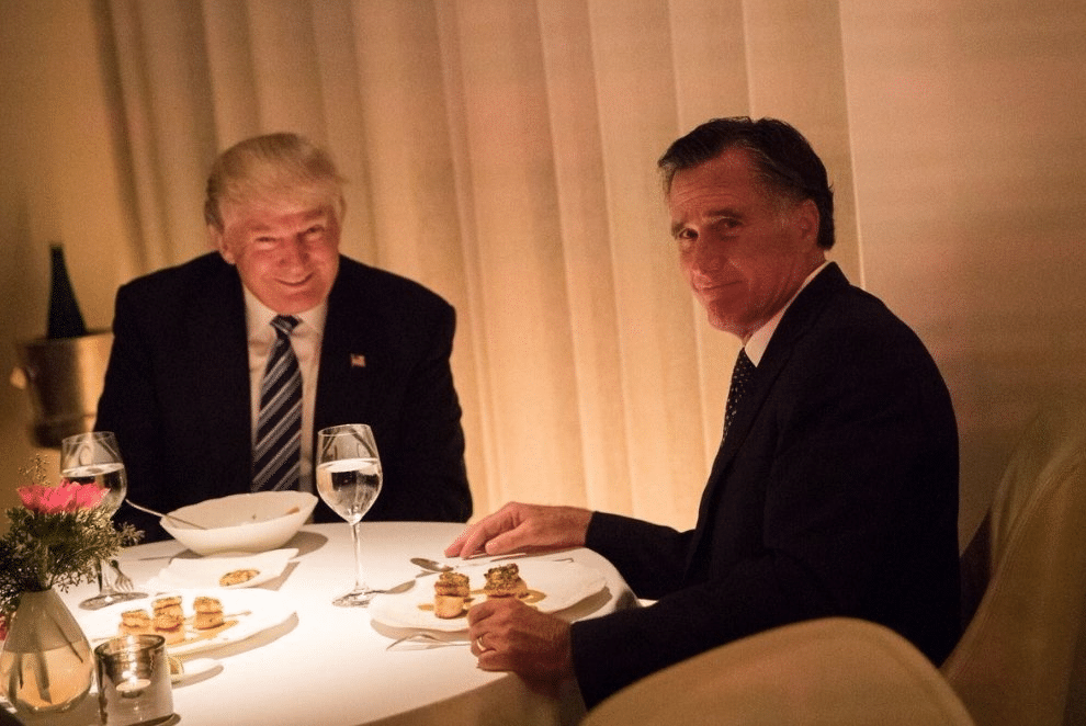 Romney Eating Dinner with Trump Squinting  meme template blank Politics