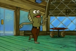 Fish Walking into the Krusty Krab Fred the Fish meme template