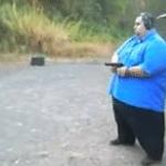 Fat Guy with Gun  meme template blank
