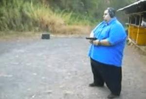 Fat Guy with Gun Gun meme template