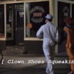 Clown shoes squeaking  meme template blank