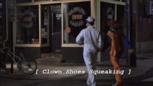 Clown shoes squeaking Squeaking meme template