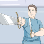 Wikihow Guy with Two Swords / Knives  meme template blank